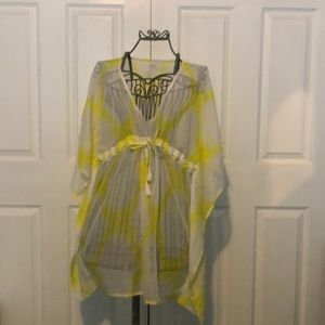 ECHO white/yellow pattern swim caftan cover-up